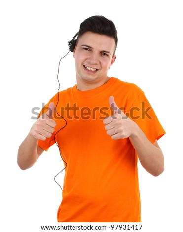 A guy wearing a headset with a thumbs up sign - stock photo