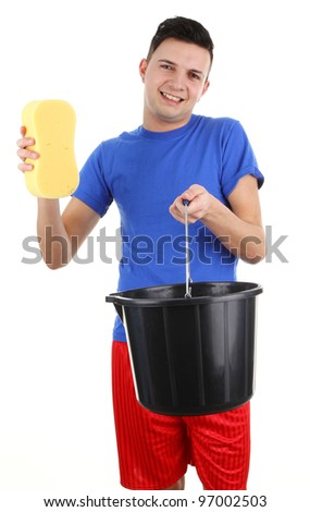 A guy with a bucket and a sponge, isolated on white - stock photo