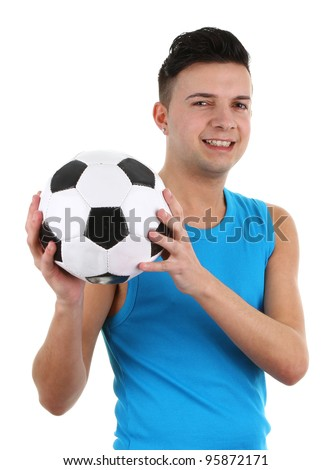 A guy with a football, isolated on white - stock photo