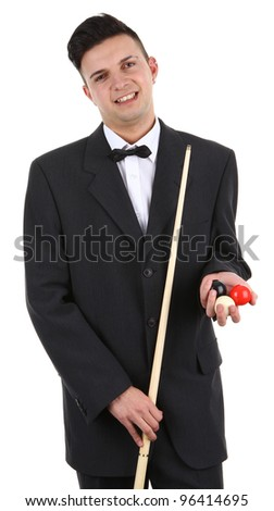 A guy with a snooker cue and balls, isolated on white - stock photo