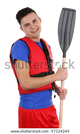 A guy with an oar, isolated on white - stock photo