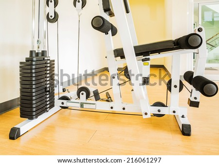 A gym and sporting equipment for physical exercise  - stock photo