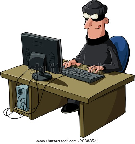 A hacker on a white background, raster - stock photo