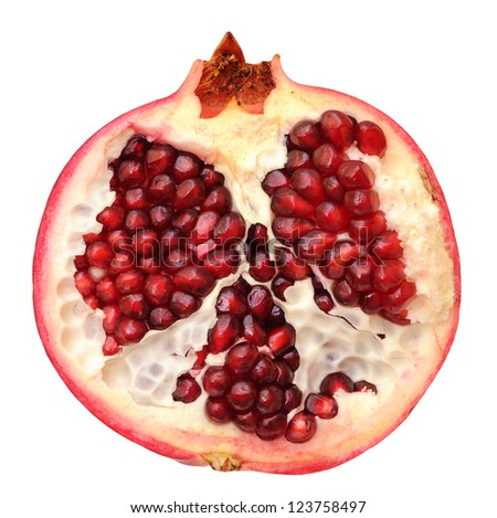 a half of pomegranate isolated on white background - stock photo
