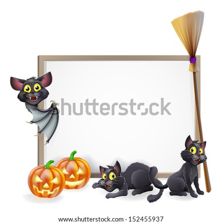 A Halloween background sign with pumpkins, black witches cats and broomstick and vampire bat and copyspace for your text in the centre - stock photo