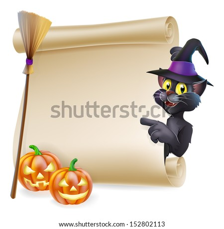 A Halloween black cat in witch's pointed hat pointing at the sign. Also with witch broom and carved pumpkins. - stock photo