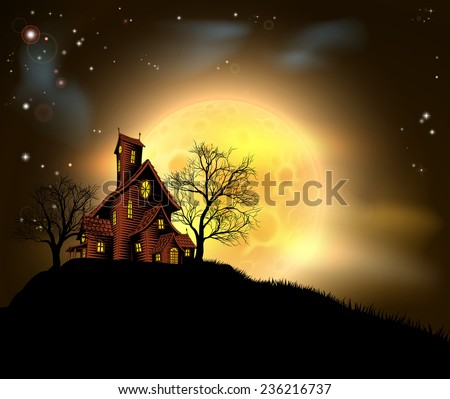A Halloween haunted house illustration with a spooky house atop a hill with a large full moon in the background  - stock photo