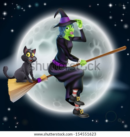 A Halloween illustration of a green witch flying on her broom with her cat in front of a star lit night sky with full moon - stock photo