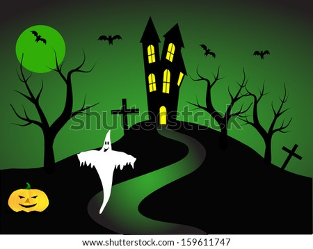 A halloween  illustration with a ghost  in front of a haunted house - stock photo