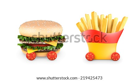 A hamburger with double steak, salad, and cherry tomatoes and french fries. 3D rendering. - stock photo