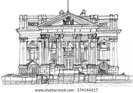 A hand-drawn line drawing of the County Court, Liverpool, UK - stock photo