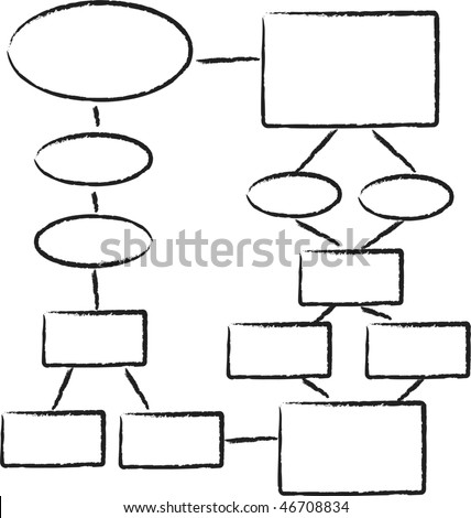 A hand drawn looking flowchart template - stock photo