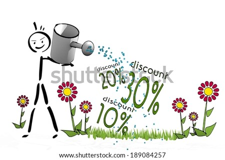 a hand drawn stick man waters a discount with hand drawn flowers on white background - stock photo
