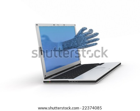 a hand going out from a notebook - stock photo