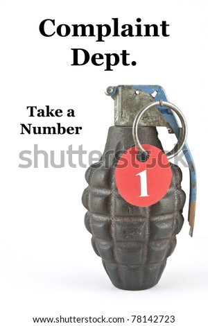 "A hand grenade with a number and the caption ""Take a Number"" - stock photo"
