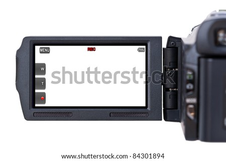 A hand held camcorder's blank LCD screen isolated on a white background. - stock photo