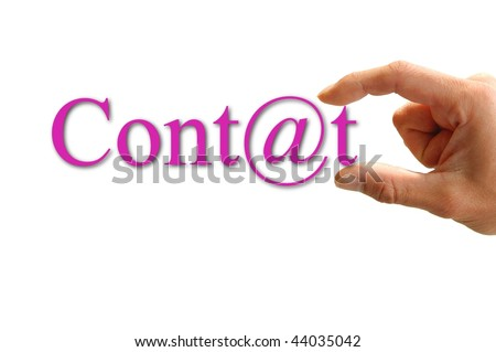 A Hand hold the word contact. Isolated on white background. - stock photo