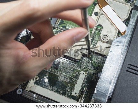 A hand holding a screwdriver is installing or repairing computer components,fixing computer,fix computer - stock photo