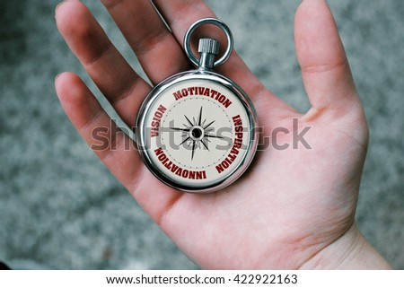 A hand holding pocket watch showing business related theme inside. - stock photo