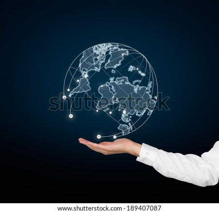 A hand holding the world. Elements of this image furnished by NASA. - stock photo