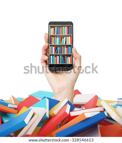 A hand holds a smartphone with a book shelf on the screen. A heap of colourful books. A concept of education and technology. isolated on white background. - stock photo