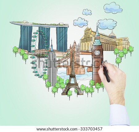A hand is drawing a sketches of the most famous touristic places on the light green background. The concept of tourism and sightseeing. - stock photo