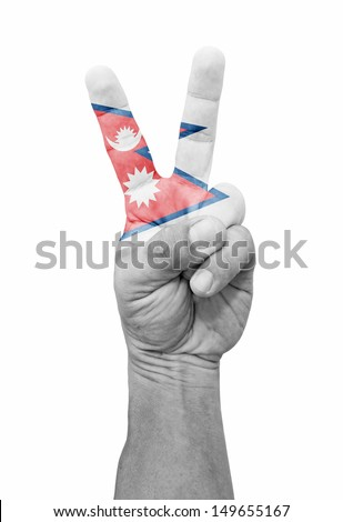 A hand painted with a Nepal flag making a V for victory symbol, isolated against white.  - stock photo