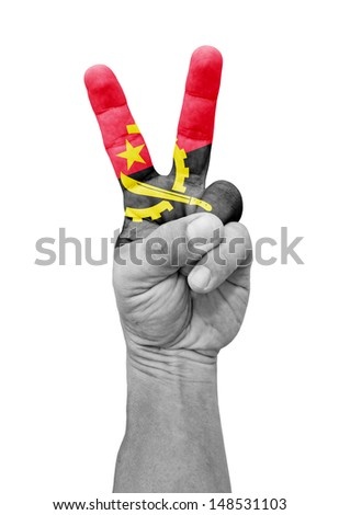 A hand painted with an Angola flag making a V for victory symbol, isolated against white.  - stock photo