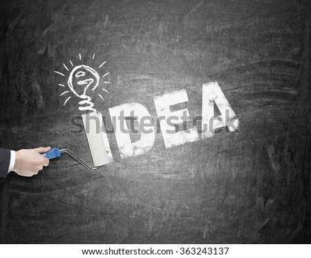 A hand painting the word 'idea' in capital letters with a roller on the black background, a painted bulb over the letter I. A concept a new idea - stock photo