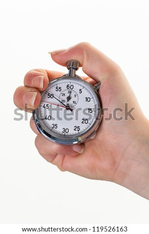 a hand with a stopwatch for timing. isolated white background - stock photo