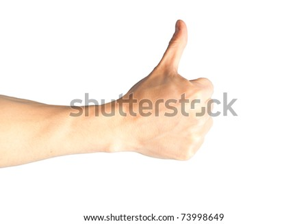 A hand with thumb up isolated on white background - stock photo
