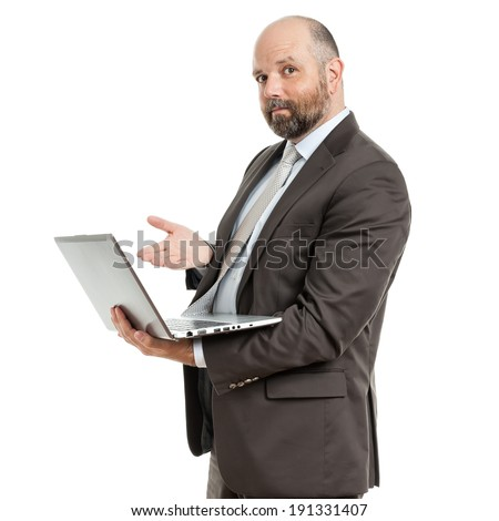 A handsome business man and his notebook - stock photo