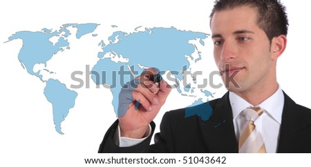 A handsome businessman presenting concepts of global market expansion. All on white background. - stock photo