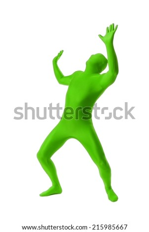 A handsome man in a green body suit isolated on a white background - stock photo