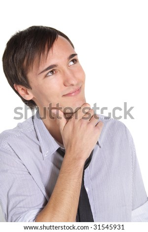 A handsome young man deliberates a decision. All isolated on white background. - stock photo