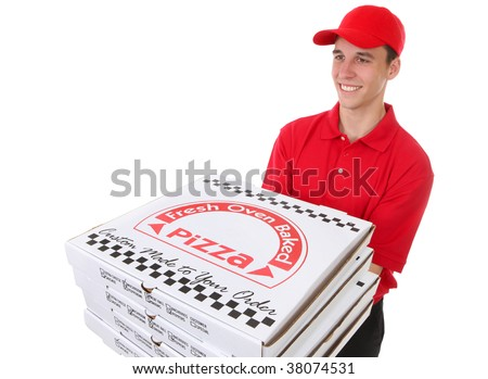 A handsome young man delivering pizzas isolated over white - stock photo