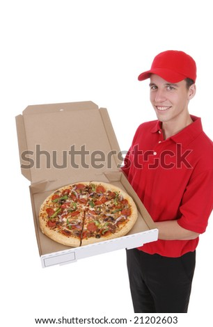A handsome young pizza delivery man holding a pizza - stock photo