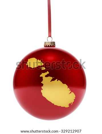 A hanging glossy red bauble with the golden shape of Malta.(series) - stock photo