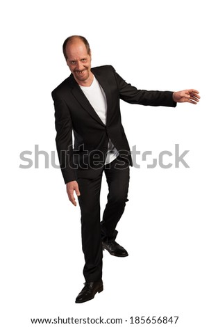 A happy Businessman in motion on a white background. - stock photo