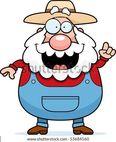 A happy cartoon farmer with an idea. - stock photo