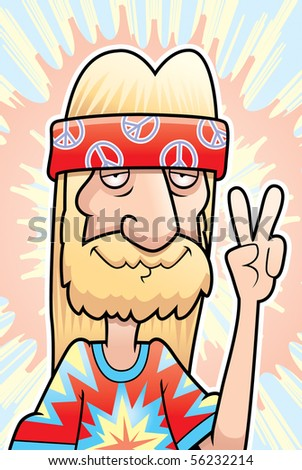 A happy cartoon hippie making the peace sign. - stock photo