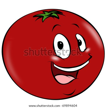 A happy cartoon tomato. A healthy addition to any diet. - stock photo