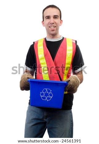 A happy city worker, smiling while holding a blue box, isolated against a white background - stock photo
