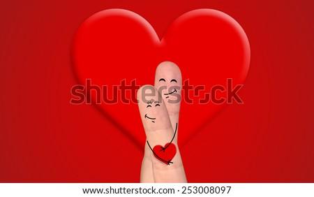 A happy couple in love celebrating Valentine day - stock photo