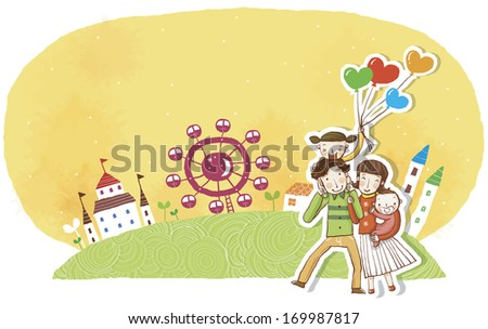A happy family having fun in the park. - stock photo