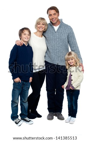 A happy family on white background - stock photo
