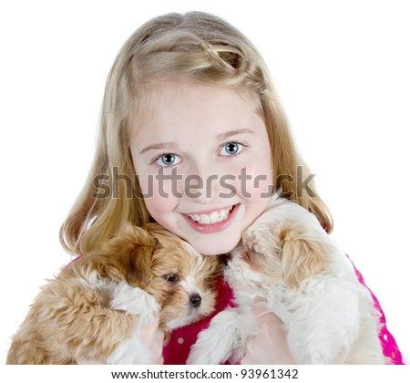 a happy girl hugging two small fluffy puppies, isolated on a white background - stock photo