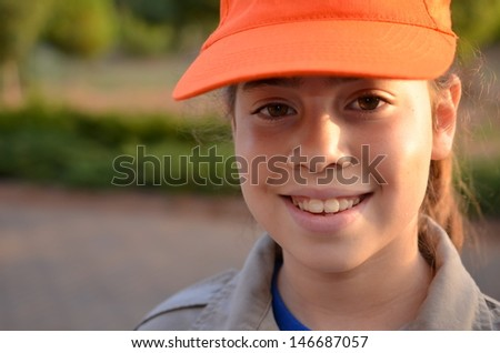 A happy Israel Girl Scout on the way to summer camp - stock photo