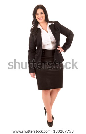 A Happy Large business woman - isolated over white background - stock photo