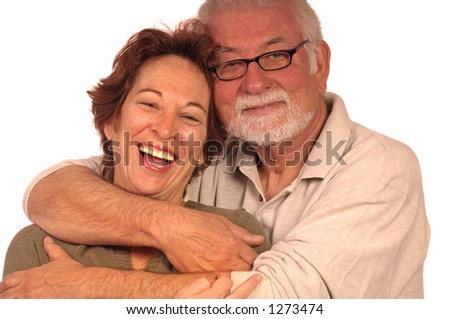 A happy loving couple embracing - stock photo